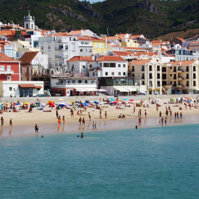 """view of Sesimbra beach in Natural Park of Arrabida, Portugal"" stock image"