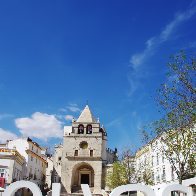 """Republic Square in the town of Elvas and Cathedral of Our Lady o"" stock image"