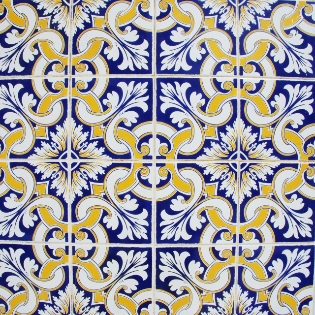 """texture of geometgrical tiles of Portugal"" stock image"
