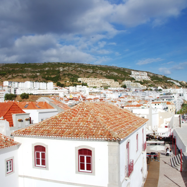 """Landscape of Sesimbra village, Portugal"" stock image"