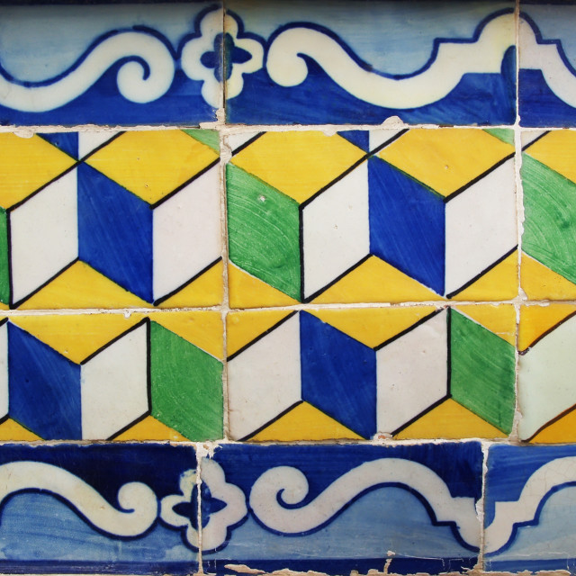 """Blue, yellow and green Portuguese tiles (azulejos) with geometri"" stock image"