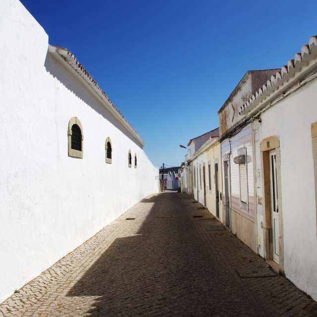 """white street of S Bras Alportel, Algarve, Portugal"" stock image"