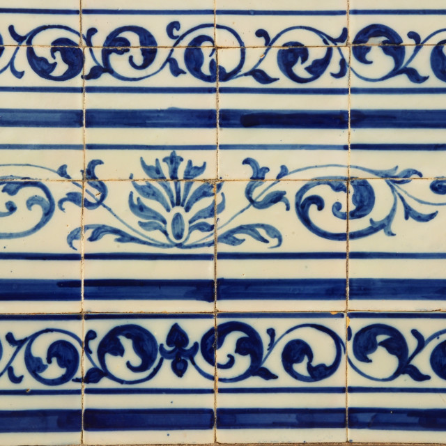 """Blue Portuguese tiles (azulejos) with geometric pattern"" stock image"
