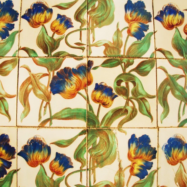 """Vintage azulejos (ancient tiles) from the old palace - Algarve,"" stock image"