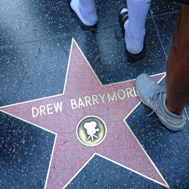 """""""Drew Barrymore Hollywood walk of fame star."""" stock image"""
