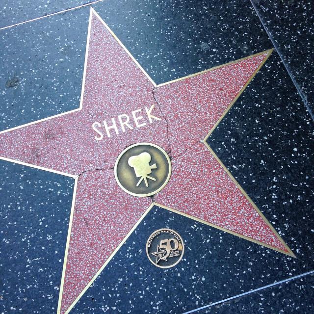"""Shrek Hollywood walk of fame star."" stock image"