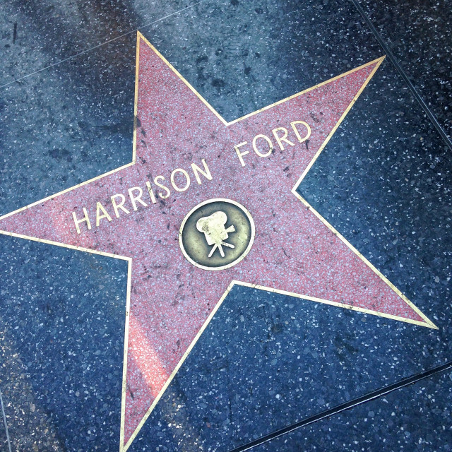 """""""Harrison Ford Hollywood walk of fame star."""" stock image"""