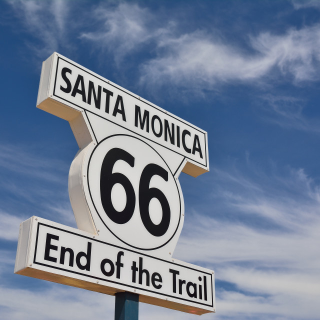 """End of Route 66 in Santa Monica, California."" stock image"
