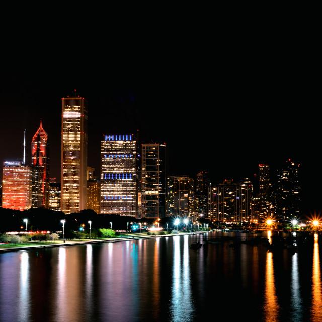 """Chicago night skyline, Usa."" stock image"