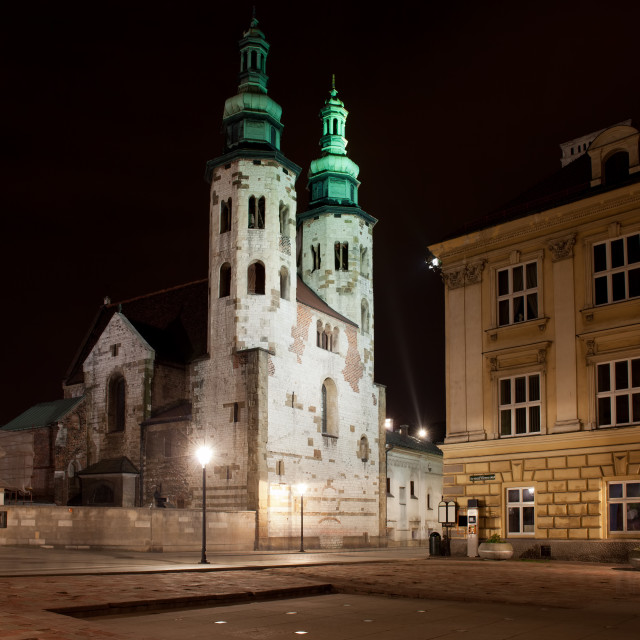 """Church of St. Andrew at Night in Krakow"" stock image"