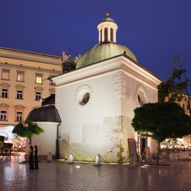 """Church of Saint Wojciech in Krakow at Night"" stock image"