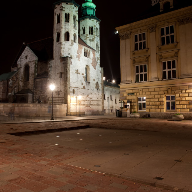 """St Mary Magdalene Square and Church of St Andrew in Krakow"" stock image"