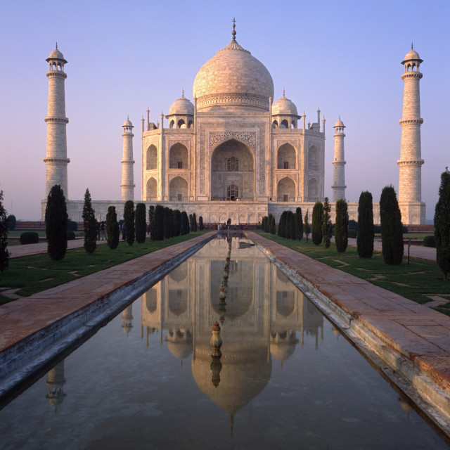 """Taj Mahal at sunrise, Agra India"" stock image"