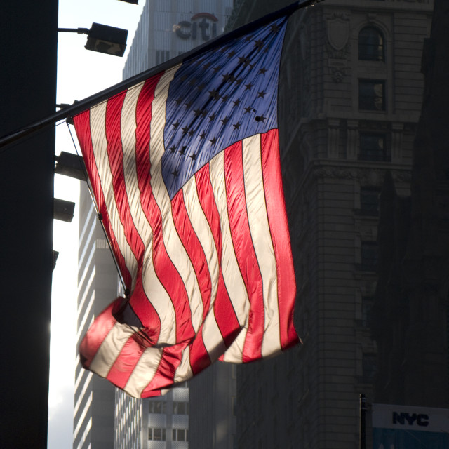 """American Flag, New York 0148"" stock image"