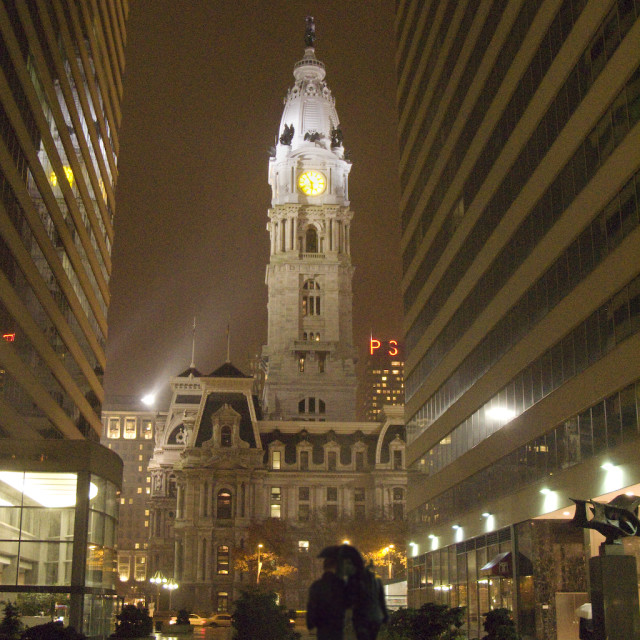 """Philadelphia City Hall at night"" stock image"