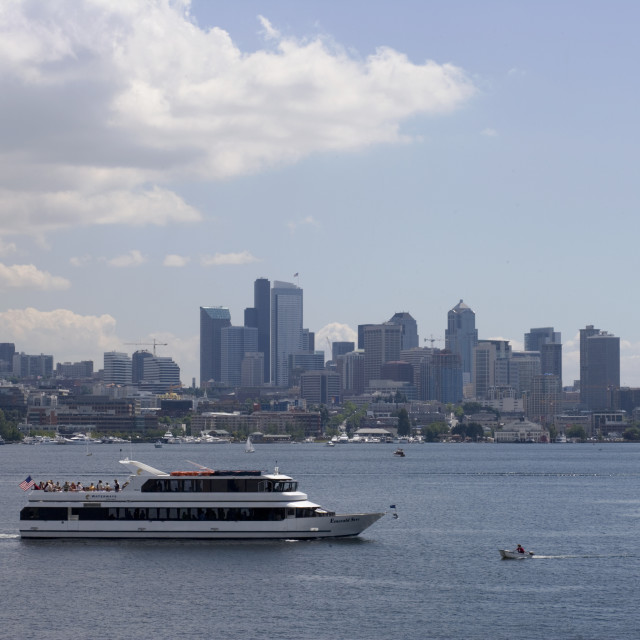 """Cruise boat Seattle bay"" stock image"