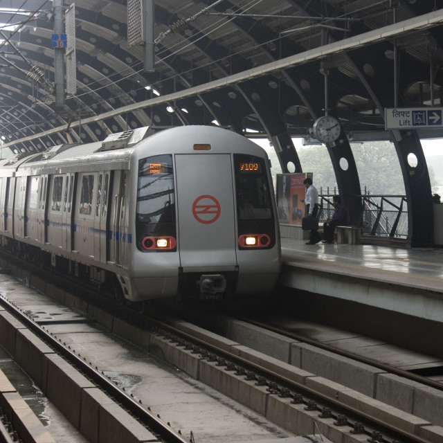 """New Delhi Metro station, India"" stock image"