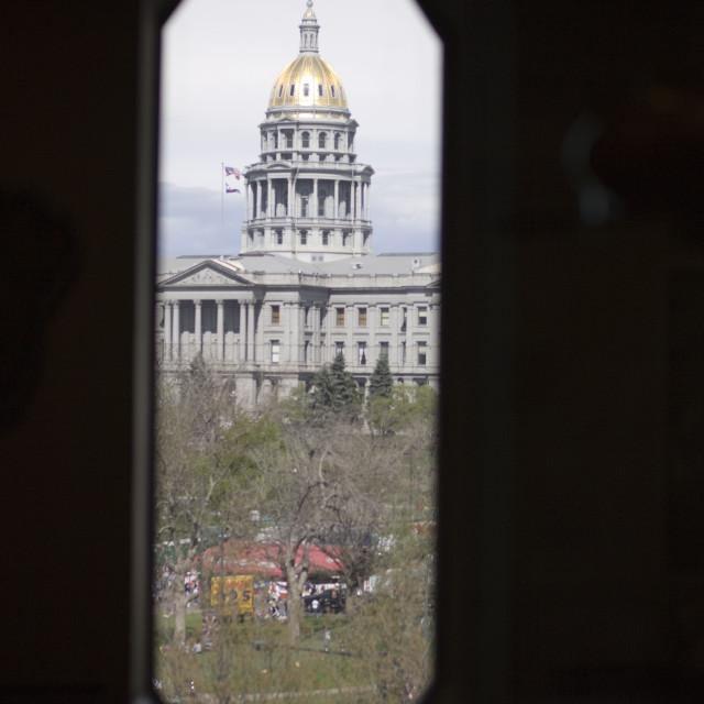 """View of Capital building from Denver Art Museum"" stock image"