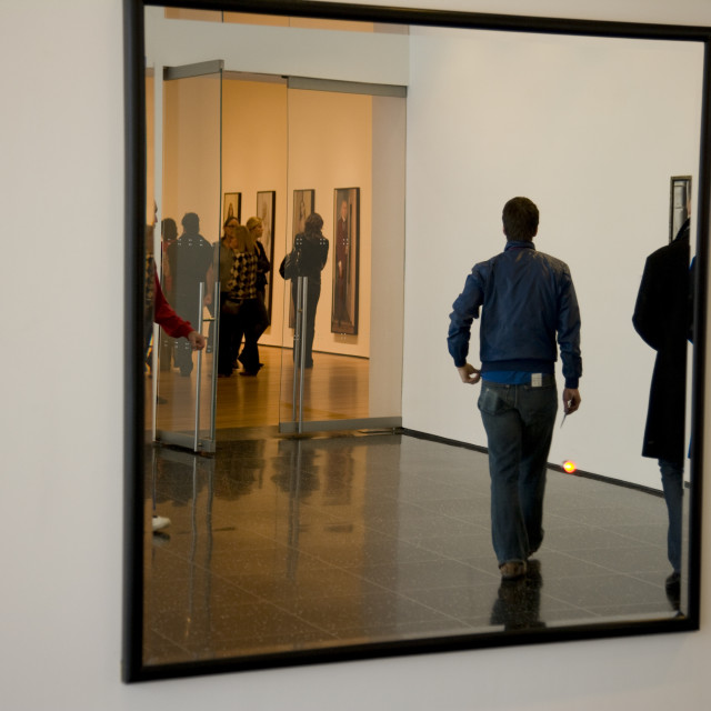 """""""Reflections in mirror, MOMA, New York"""" stock image"""