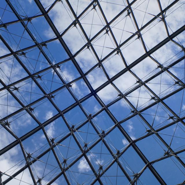 """View under pyramid, Louvre, Paris, France"" stock image"