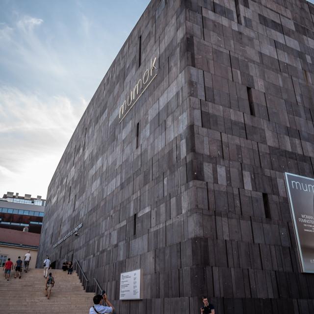 """Mumok museum in Vienna at sunset"" stock image"