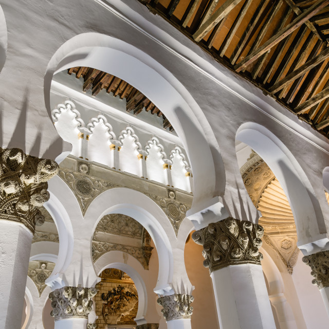 """""""Interior view of Saint Mary The White Synagogue in Toledo"""" stock image"""