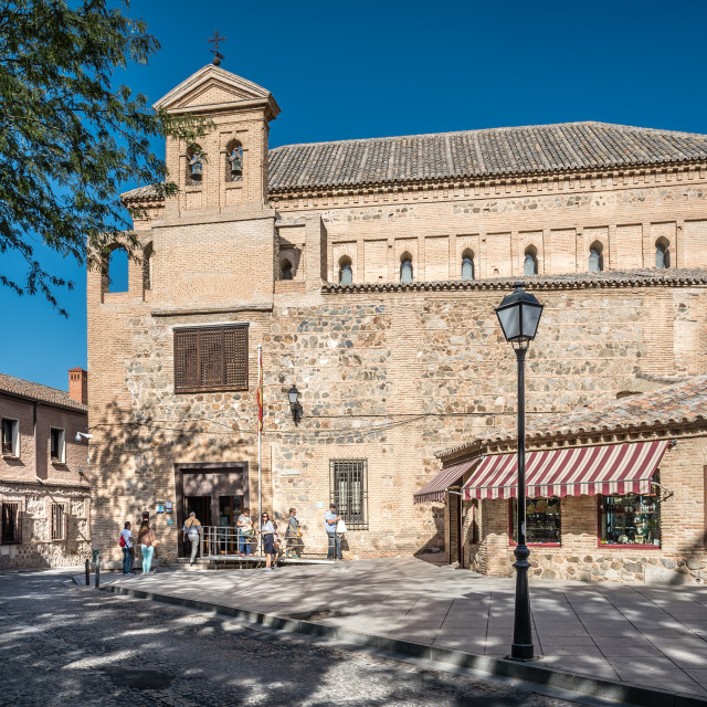"""""""Outdoor view of Synagogue of Transito in Toledo"""" stock image"""