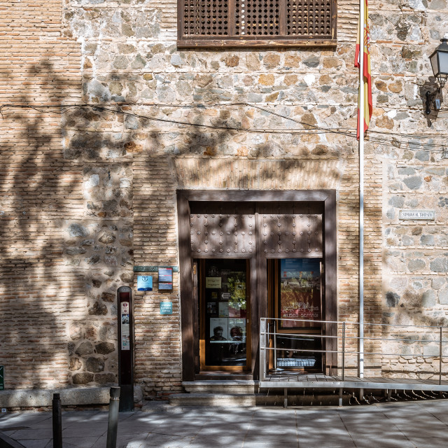 """""""Outdoor view of entrance to Synagogue of Transito in Toledo"""" stock image"""