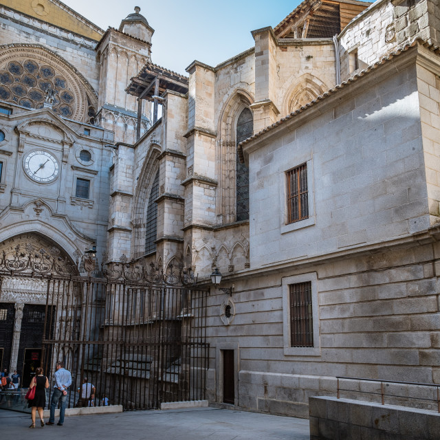 """""""Outdoor view of side entrance to Cathedral of Toledo"""" stock image"""