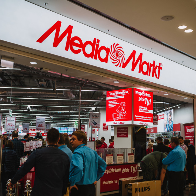"""""""Wroclaw, Poland, October 18, 2017 : Media Markt first day of the new shopping..."""" stock image"""