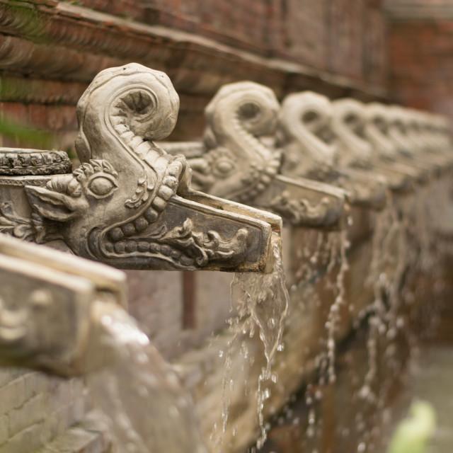 """Traditional Nepali water taps shaped like gargoyles, filling a swimming pool..."" stock image"