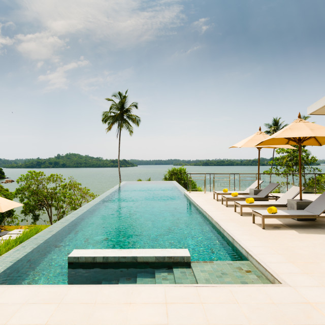 """""""Infinity swimming pool overlooking at a lake, bordered by palm trees, lounge..."""" stock image"""