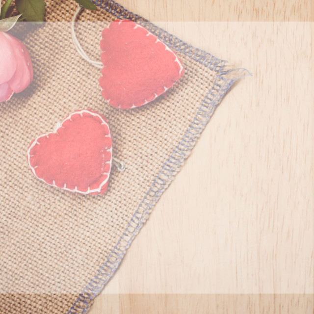 """red felt hearts decorations and rose bossom"" stock image"