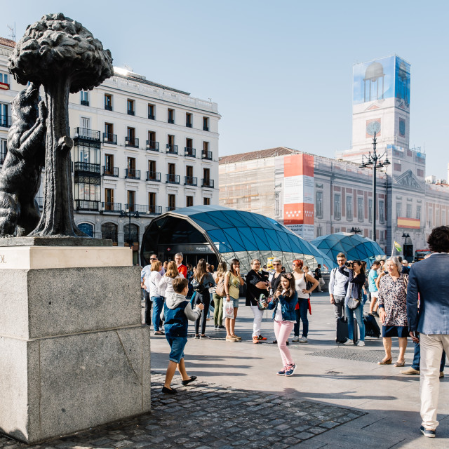 """""""Statue of the Bear and the Strawberry Tree in Madrid"""" stock image"""