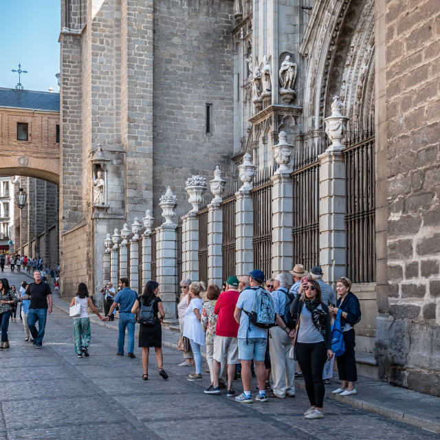 """""""Outdoor view of main entrance to Cathedral of Toledo"""" stock image"""