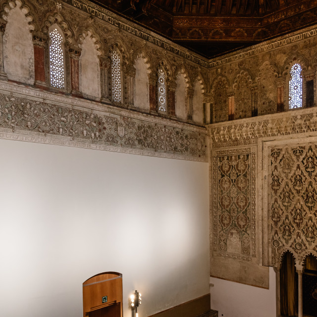 """""""Indoor view of Synagogue of Transito in Toledo"""" stock image"""