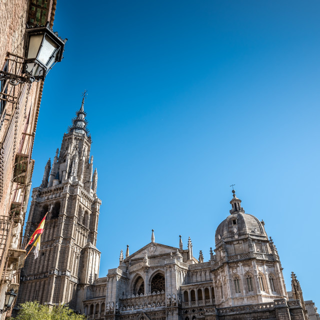 """""""Low angle outdoor view of the Cathedral of Toledo"""" stock image"""