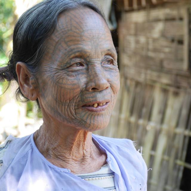 """Chin face tattoo - Myanmar"" stock image"