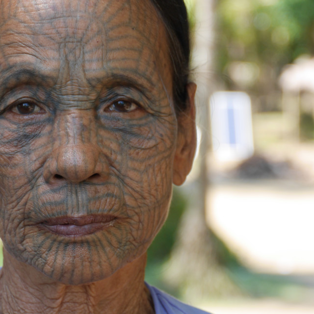 """""""Face Tattoo - Chin State, Myanmar"""" stock image"""