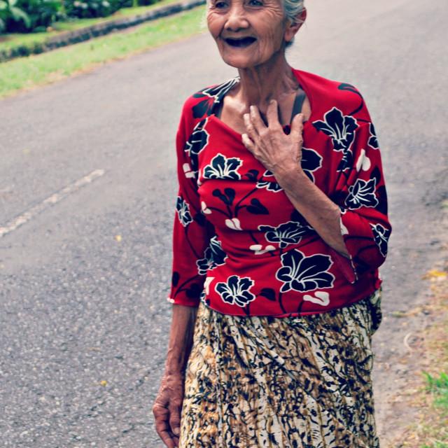 """Old Balinese lady"" stock image"