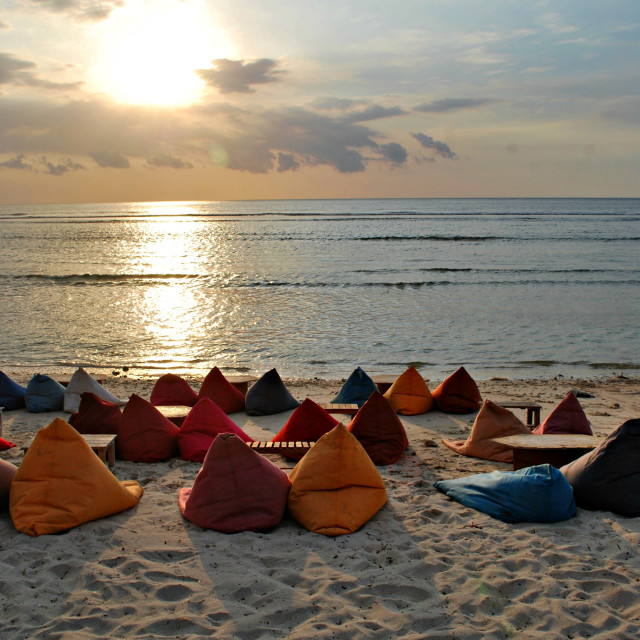"""""""Sunset and chill - Gili Islands"""" stock image"""