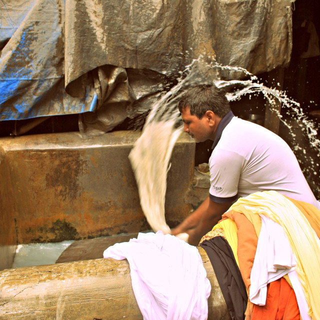 """Washing at the Dhoby Ghat"" stock image"