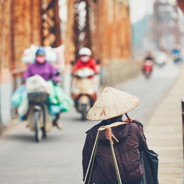 """Traffic on the bridge in Hanoi"" stock image"