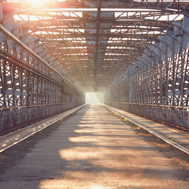 """Long iron bridge at sunrise"" stock image"