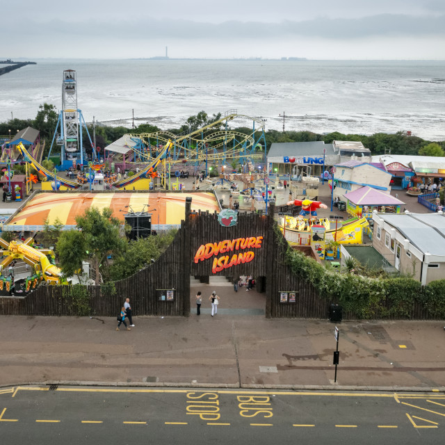 """Adventure Island and Southend Pier, Essex, Britain"" stock image"