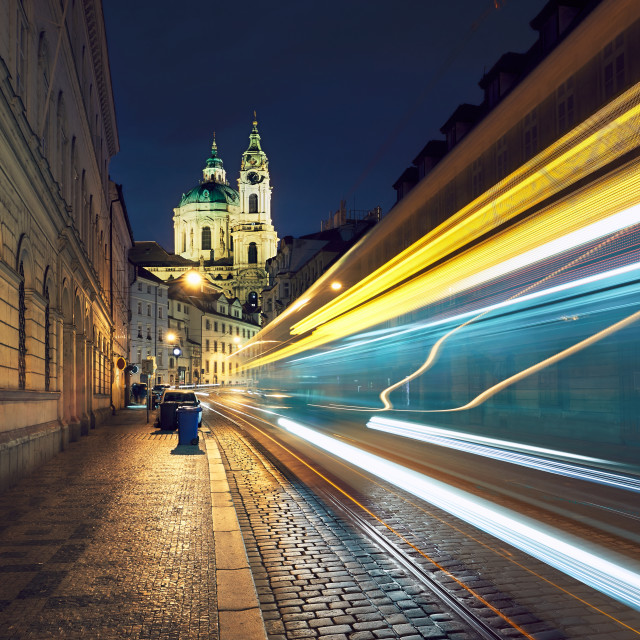 """Traffic on the ancient street in Prague"" stock image"
