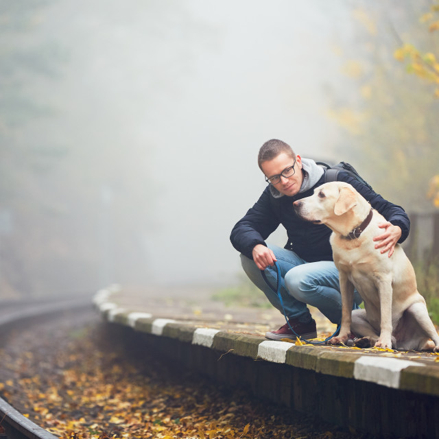 """Man traveling with his dog by train"" stock image"
