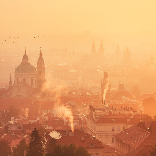 """Foggy morning in Prague"" stock image"