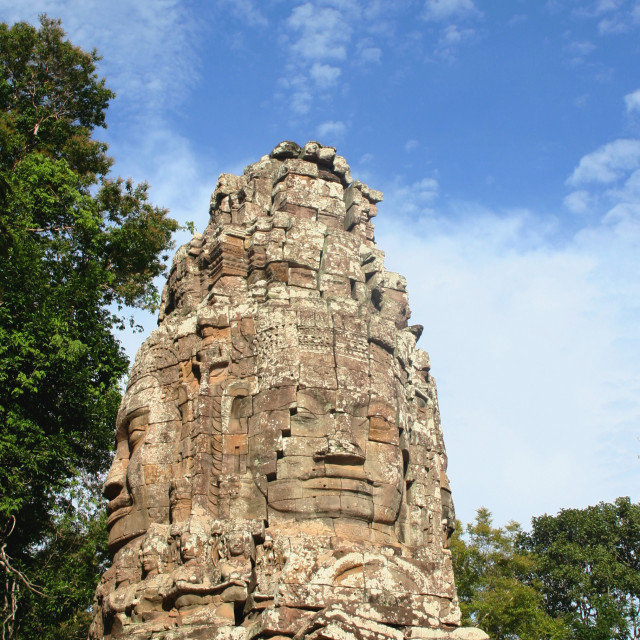 """Face tower of the Ta Prohm temple"" stock image"