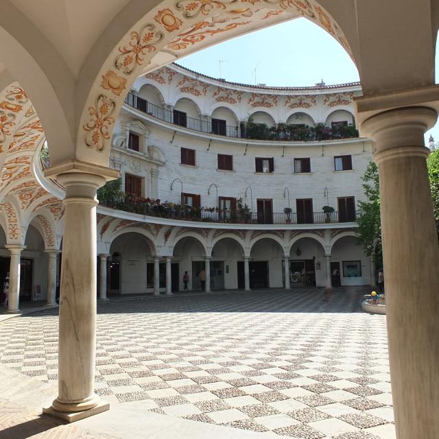 """""""Across Plaza del Cabildo, Sevilla"""" stock image"""